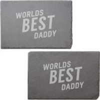 Worlds Best Daddy Engraved Slate Placemat - Set of 2