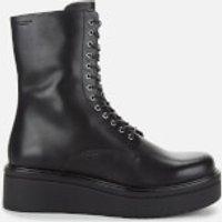 Vagabond Womens Tara Leather Chunky Lace Up Boots - Black - UK 7