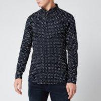Armani Exchange Men's All Over Print Long Sleeve Shirt - Navy - S