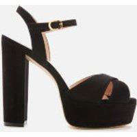 Stuart Weitzman Women's Soliesse Suede Platform Heeled Sandals - Black - UK 6
