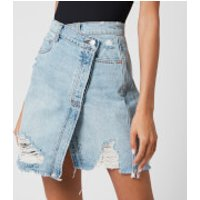 Free People Womens Parker Wrap Skirt - Light Denim - W26