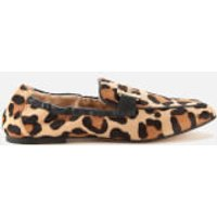 Tod's Women's Double T Leather Leopard Print Loafers - Camel - UK 3