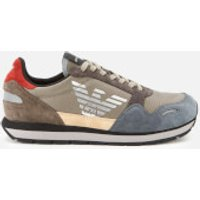 Emporio Armani Men's Logo Running Style Trainers - Beige - UK 7