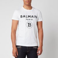 Balmain Men's Flock Logo T-Shirt - White/Black - S