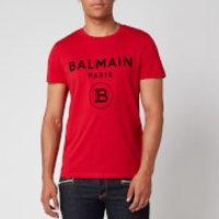 Balmain Men's Flock Logo T-Shirt - Red/Black - XL
