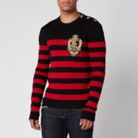 Balmain Men's Striped Wool Knit Badge Jumper - Black/Red - L