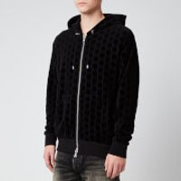Balmain Men's Zipped Monogram Jacquard Hoodie - Black - XL