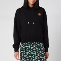KENZO Women's Boxy Fit Hoodie Tiger Crest - Black - L