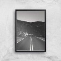 Yosemite Drive Giclee Art Print - A4 - Black Frame