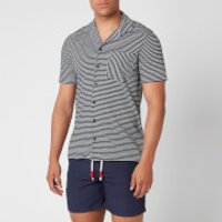 Orlebar Brown Men's Travis Ocean Stripe Capri Collar Shirt - Navy/Almond - L