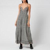 Free People Womens Good Vibes Midi Dress - Black Combo - XS