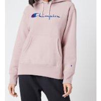 Champion Women's Large Script Hooded Sweatshirt - Mauve - S