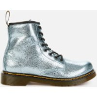 Dr. Martens Kids 1460 Crinkle Metallic Lace-Up Boots - Teal - UK 10 Kids