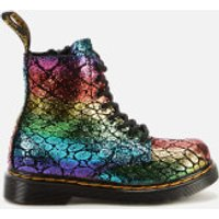 Dr. Martens Toddlers' 1460 Metallic Suede Lace-Up Boots - Black/Rainbow - UK 7 Toddler