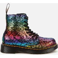 Dr. Martens Kids 1460 Metallic Suede Lace-Up Boots - Black/Rainbow - UK 12 Kids
