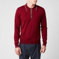 Missoni Men's Outline Detail Long Sleeve Polo Shirt - Red - 50/L