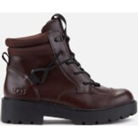 UGG Women's Tioga Waterproof Leather Hiking Style Boots - Burgundy - UK 5