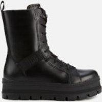 UGG Womens Sheena Water Resistant Leather Lace Up Boots - Black - UK 7