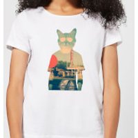 Ikiiki Cool Cat Women's T-Shirt - White - S - White