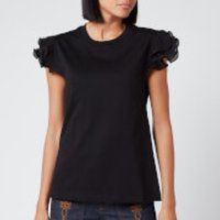 See By Chloe Women's Frill Sleeve T-Shirt - Black - S