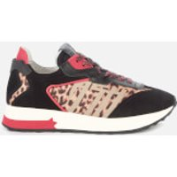 Ash Women's Tiger Suede/Nylon Running Style Trainers - Black/Red/Leopard - UK 5