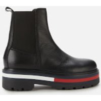 Tommy Jeans Women's Flag Outsole Leather Chelsea Boots - Black - UK 4