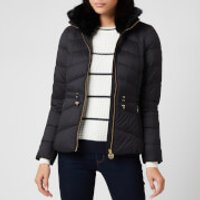Barbour International Womens Halfback Quilt Fur Collar Coat - Black - UK 10