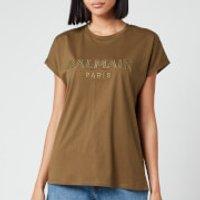 Balmain Women's Satin Logo T-Shirt - Khaki - XL