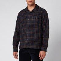 Officine Generale Men's Jonas Brushed Shirt - Navy/Camel - M
