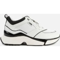 Karl Lagerfeld Women's Aventur Astral Plane Leather Running Style Trainers - White/Black - UK 3