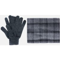 Barbour Mens Tartan Scarf and Gloves Gift Set - Black/Grey Check