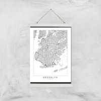 Brooklyn Light City Map Giclee Art Print - A3 - White Hanger