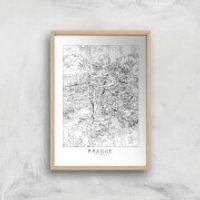 Prague Light City Map Giclee Art Print - A3 - Wooden Frame