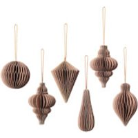 Broste Copenhagen Christmas Mix Baubles - Set of 6 - Indian Tan