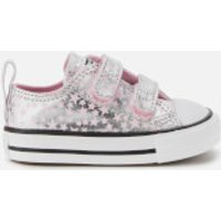 Converse Toddlers' Chuck Taylor All Star 2V Ox Trainers - Pink Glaze/Silver/White - UK 3 Toddler