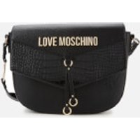 Love Moschino Womens Moc Croc Shoulder Bag - Black