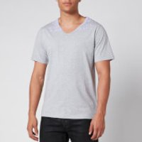 Maison Margiela Men's V-Neck Charity T-Shirt - Grey Melange/Lilac - S