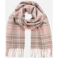 Barbour Casual Womens Barmack Houndstooth Tartan Scarf - Taupe/Pink Tartan