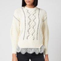 Self Portrait Women's Cable Knit Contrast Stitch Jumper - Ivory - M