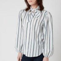 See by Chloe Women's Tie Neck Striped Shirt - White Blue - EU 34/UK 6