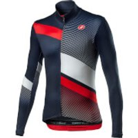 Castelli Mid Thermal Pro LS Jersey - L - Savile Blue/White/Red
