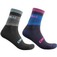 Castelli Women's Linea 15 Socks - S/M - Dark Grey/Celeste