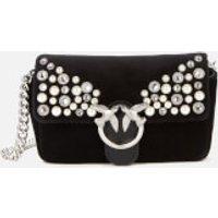 shop for Pinko Women's Love Tiny Full Pearls Bag - Black at Shopo