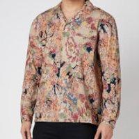YMC Men's Rayon Cotton Floral Feathers Shirt - Multi - XL