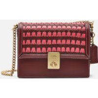 shop for Coach Women's Woven Leather Hutton Shoulder Bag - Wine at Shopo