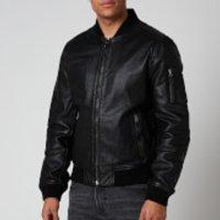 Superdry Mens Leather Bomber Jacket - Black - M