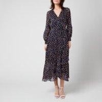 Whistles Womens Satin Stripe Spot Wrap Dress - Blue/Multi - UK 8