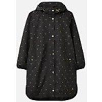 Joules Womens Rainwell Print Waterproof Raincoat - Black Gold Bee - UK 8