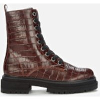 Kurt Geiger London Women's Siva Croc Print Leather Lace Up Boots - Wine - UK 6