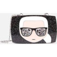 shop for Karl Lagerfeld Women's Ikonik Karl Glitter Minaudiere - Black at Shopo